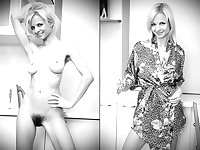 Clothed and Nude  47 B-W  Hairy Women