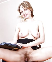 MILF secretary with hairy pussy wants to fuck - wank to her