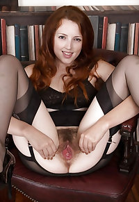 British Redhead Spreads her Hairy Pussy